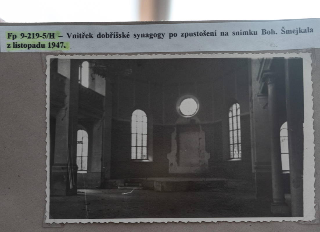 photo of looted synagogue after WWII supplied by town archivist