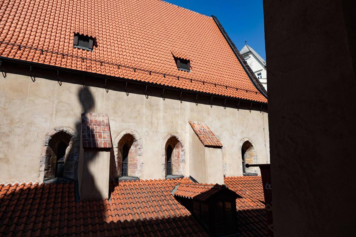 view of window of Altneu Synagogue