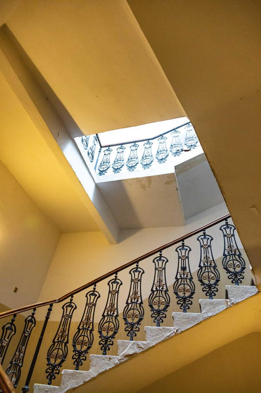 inside stairs with original railing